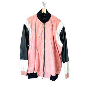 Custom Colorblock Pink/Black/White Bomber Jacket